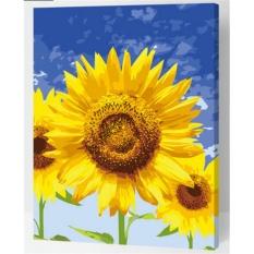33 Jenis 40X50 CM Handpainted DIY Lukisan Minyak dengan Bingkai Kayu DIY Nomor Lukisan Modern Pemandangan Seni Bunga Dekorasi Dinding For Rumah (Sunflower) -Intl