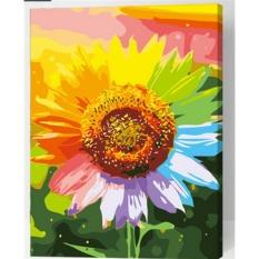 33 jenis 40X50 CM Handpainted DIY Lukisan Minyak Dengan Bingkai Kayu DIY Nomor Lukisan Modern Pemandangan Seni Bunga Dekorasi Dinding untuk Rumah (Bunga Matahari)-Intl