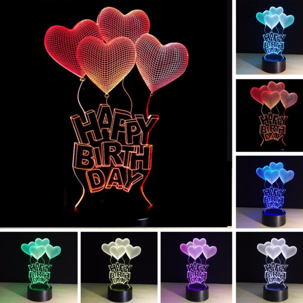 3D Meja Lampu Warna-warni LED Romantic Night Light Touch Control Lampu Dekorasi untuk Hadiah Ulang Tahun-Internasional