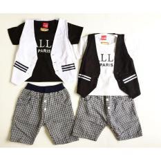 3Pc@37/49.5 Babeebabyshop Paris Stelan Anak Setelan Anak Grosir Baju Anak Grosir Bajubayi Rompi Anak