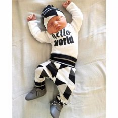 Harga 3 Pcs Baby Boy Hello Dunia Warna Blok Kemeja Celana Hat Pakaian Set Paling Murah