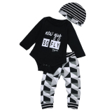 Jual 3 Pcs Baby Boys Pakaian Set Baju Monyet Celana Topi Hitam