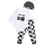 Diskon 3 Buah Set Pakaian Bayi Laki Laki Baju Terusan Celana Topi Putih Vakind