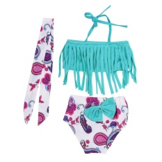3 Pcs Baby Girls Swimwear Musim Panas Jempol Bikini Swimsuits Top + Pendek + Headband-Intl