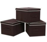 Toko 3 Pcs Rumah Kotak Penyimpanan Polyester Collapsible Cube Organizer Tempat Sampah Yang Dapat Dilipat Dengan Tutup Penyimpanan Untuk Cotton Fabric Underwear Socks Bras Intl Di Tiongkok