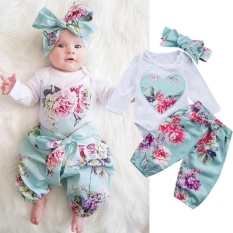 Spesifikasi 3Pcs Baju Bayi Perempuan Baru Lahir Model Jumpsuit Motif Bunga Lengkap Dengan Harga