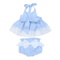 3pcs Newborn Baby Girl Striped Halter Lace Dress + Briefs + Belt (Blue) - intl