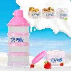 Harga 4 Lapisan Portable Bayi Susu Bubuk Formula Dispenser Makanan Permen Penyimpanan Case Pink Intl Asli Oem