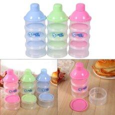 4 Layers Portable Infant Baby Milk Powder Formula Dispenser Feeding Case Box Container (Blue)