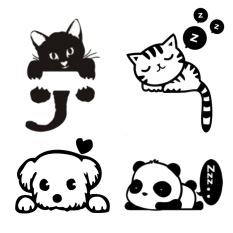 4 Pcs Lucu Kucing Lucu Anjing Panda Perekat Dinding Lampu Furniture Stiker Decal Kamar Dekorasi Persediaan