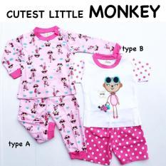 4Pc@31-5 Babeebabyshop Cutest Little Monkey Piyama Anak Piyama Bayi Baju Tidur Anak
