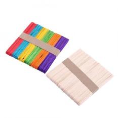 50pcs Wooden Ice Cream Freezer Pop Sticks Wood Sticks Craft Accessories(Mixed Color 1 Pack)