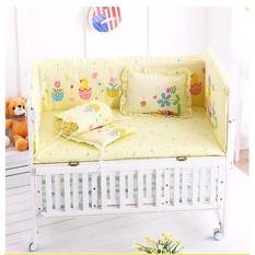 5 Pcs/set Katun Bayi Cot Bedding Set Baru Lahir Crib Bedding Bantal Dapat Dilepas Bemper Lembar Cot Tempat Tidur Linen Crib Perlindungan Menyeluruh bayi Tempat Tidur Bemper 100X58 Cm-Internasional