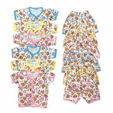 BAYIE - 6 SET MY BABY Setelan Baju Bayi Lengan Pendek + Celana Pendek 100% katun Motif lucu umur 0-6 bulan/baju santai/celana rumah/anak laki-laki/anak perempuan