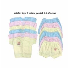 BAYIe - 6 SET Setelan Baju Bayi Lengan Pendek + Celana Pendek Warna LILY umur 0-6 bulan/baju santai/celana santai/celana rumah/anak laki-laki/anak perempuan