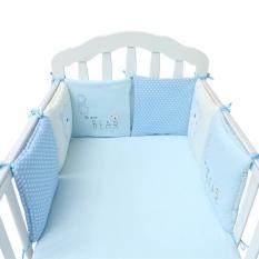 6 Pcs/set Bayi Bayi Tempat Tidur Bayi Bumper Pelindung Keselamatan Balita Nursery Bedding Set Perlindungan Bayi Cushion Pad Perlengkapan Bayi (biru) -Intl