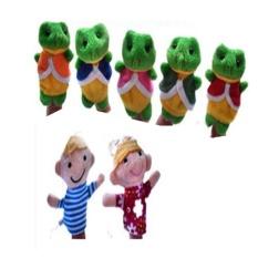 7-Piece Nursery Rhyme Boneka Jari untuk Lima Sedikit Berbintik Katak-Intl