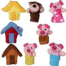 8 Pcs/set The Tiga Sedikit Pigs Jari Puppets Nursery Rhyme/Peri Tale-Internasional-Internasional