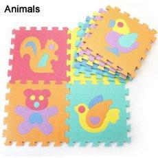 9 Ubin/Banyak Tikar Bermain Busa Anak-anak Puzzle Binatang Playmat Ubin Bayi Balita