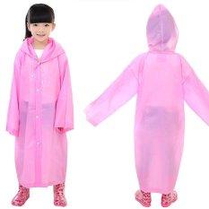 Anak-anak Usia 6 ~ 12 Hujan Ponco Jas Hujan Jaket Berkerudung Panjang Menutupi Pakaian Hujan Berwarna Merah Muda