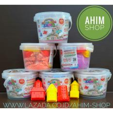 Ahim Shop - 1pc Mainan Edukatif Modeling Sand Pasir Ajaib Kinetik 400g + FREE 4 Cetakan Castle & Ember Penyimpanan (Warna Acak)
