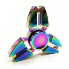 Aiueo Fidget Spinner Hand Spinner Fidget Metal Triangle Aluminium Toy Mainan Stress Fidget Shuriken Ninja Rainbow Anak ADHD - Rainbow