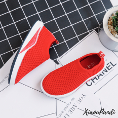 Beli Sepatu Lari Anak Anak Permukaan Jala Warna Hitam Warna Merah Warna Abu Abu Lengkap
