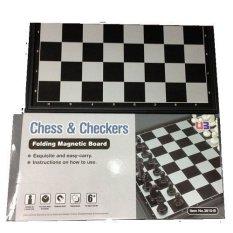 Anekaimportdotcom Chess Checkers Folding Magnetic Board Atau Papan Catur Hitam Diskon Akhir Tahun