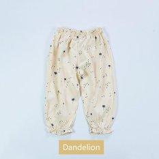Anti-nyamuk Celana Rumah AC Pants Cotton Linen Tipis Musim Panas Bayi Perempuan Floral-Dandelion-Intl