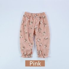 Anti-nyamuk Celana Rumah AC Pants Cotton Linen Tipis Musim Panas Bayi Perempuan Floral-Pink-Intl