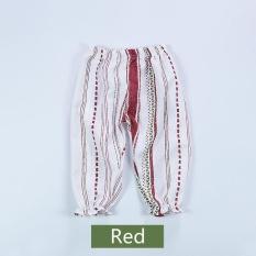 Anti-nyamuk Celana Rumah AC Pants Cotton Linen Tipis Musim Panas Bayi Perempuan Bunga-Merah-Intl