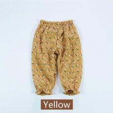 Anti-nyamuk Celana Rumah AC Pants Cotton Linen Tipis Musim Panas Bayi Perempuan Floral-Kuning-Intl