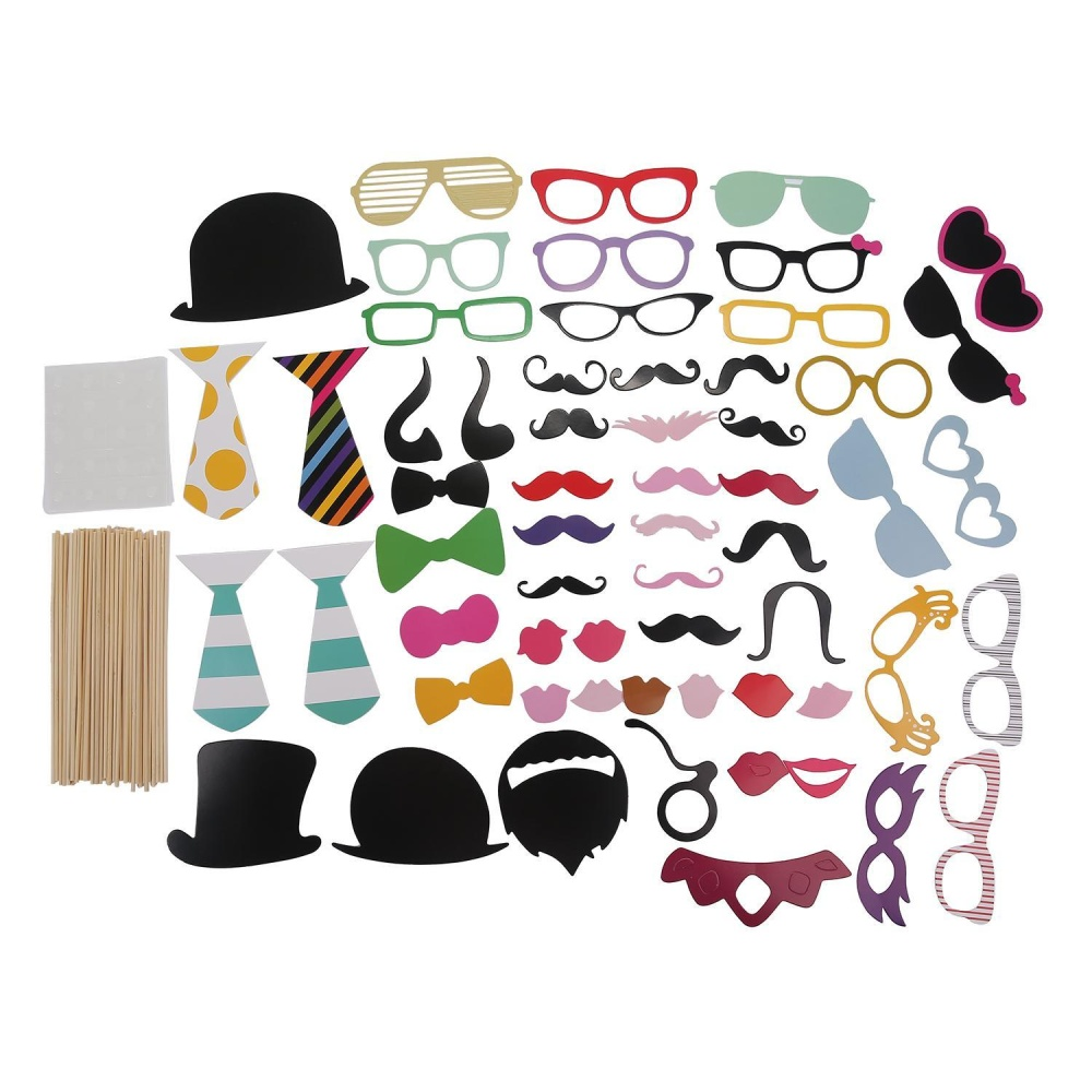 aoyou Photo Booth Props DIY Kit For Halloween Christmas Wedding Birthday Graduation Party,Photobooth Dress-up Accessories Party Favors,58 Set - intl
