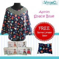 Promo Apron Menyusui Jaring Vitorio Space Blue Bantal Peyang Lengan Celemek Nursing Cover