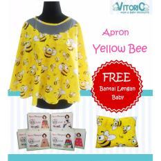 Jual Apron Menyusui Jaring Vitorio Yellow Bee Gratisbantal Peyang Lengan Celemek Nursing Cover Termurah
