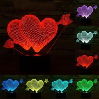 Arrow Melalui Heart Style USB Pengisian 7 ColourDiscolorationCreative Visual Stereo Lampu 3D Touch Switch Lampu Yang Dikontrol DeskLamp Lampu Malam. Ukuran Produk: 15.5X19.2X8.7 Cm-Intl