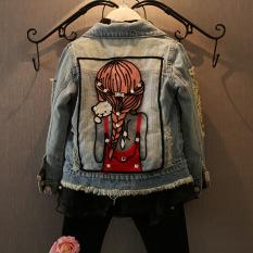 Ongkos Kirim Autumn Spring Anak Gadis Pakaian Luar Mantel Gadis Jaket Denim Kids Fashion Wear Print Jaket Di Tiongkok
