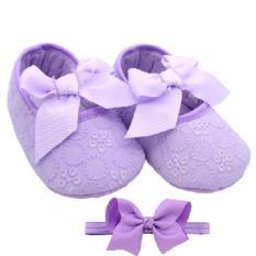 Jual Axhl Baby G*rl Prewalker Shoes Purple Ribbon Axhl Ori