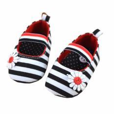 Harga Axhl Baby G*rl Shoes Prewalker Flower Stripe Black Sepatu Bayi Anak Perempuan Hitam Axhl Terbaik
