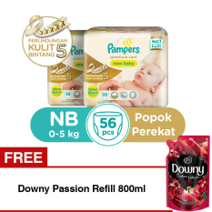 Harga B2G1F Pampers Popok Premium Care Taped Nb 28 X 2 Free Downy Passion Refill 800Ml Pampers Online