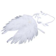 Baby Angel Bulu Sayap dengan Daun Headband Aksesoris Foto (Silver) (Intl)