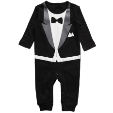 Baby Boy Bayi Formal Tuxedo Celana 1 Pcs Jumpsuit Gentleman Pakaian