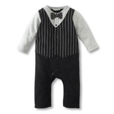 Bayi Anak Laki-laki Rompers Katun Dasi Kupu-kupu Pria Pesta Pakaian Musim Semi Balita Pangeran Kostum Bayi Jumpsuits Baru Lahir Anak Laki-laki-Internasional