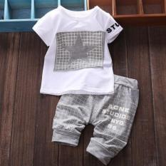Bayi Laki Laki Bintang Bang Pendek Kaos Lengan Pendek Celana Pakaian Set Kelabu Internasional Tiongkok