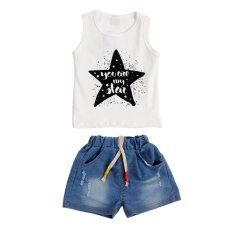 Jual Baby Boy Summer Sleeveless Vest Short Jean Clothing Set Intl Ori