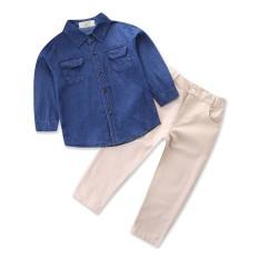 Bayi Laki-laki Pakaian Set Baru Arrival Kasual Murni Warna Koboi Kemeja + Celana Panjang 2 PCS Anak Pakaian untuk 1-6Y anak-anak Olahraga Setelan- ...