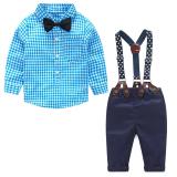 Spesifikasi Satu Set Pakaian Bayi Laki Laki Berkemeja Tema Kotak Kotak Tali Ikat Celana Yang Bagus Dan Murah
