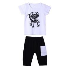 Children Kodok Bayi Motif Putih Kemeja + Hitam Celana