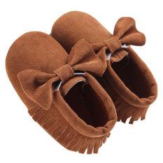 Beli Baby Boys Girls Tassel Bow Lembut Sole Pu Kulit Pantofel Moccasin Sneakers Kopi Cicilan