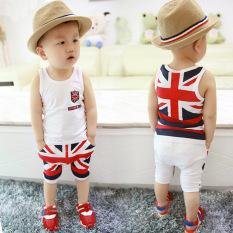 Harga Baby Boys Bendera Inggris Pola Pakaian Set T Shirt Celana Pendek 2 Pcs Pakaian Internasional Asli Oem